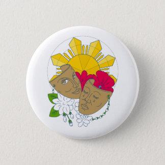 Drama Mask Philippine Sun Hibiscus Sampaguita Flow 6 Cm Round Badge