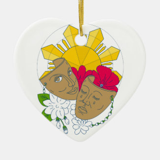 Drama Mask Philippine Sun Hibiscus Sampaguita Flow Ceramic Heart Decoration