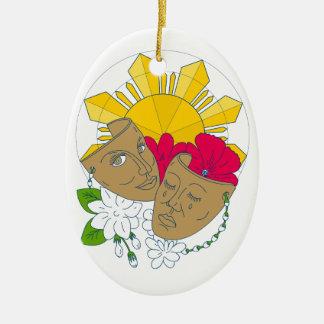 Drama Mask Philippine Sun Hibiscus Sampaguita Flow Ceramic Oval Decoration