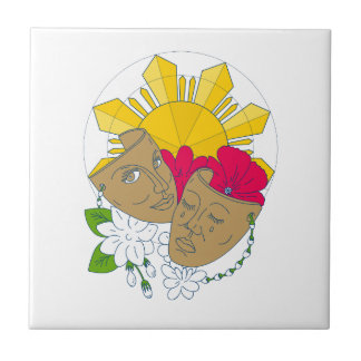 Drama Mask Philippine Sun Hibiscus Sampaguita Flow Ceramic Tile