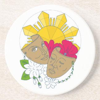 Drama Mask Philippine Sun Hibiscus Sampaguita Flow Coaster