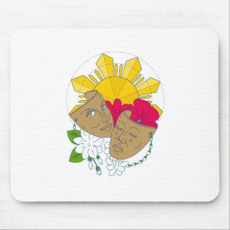 Drama Mask Philippine Sun Hibiscus Sampaguita Flow Mouse Pad
