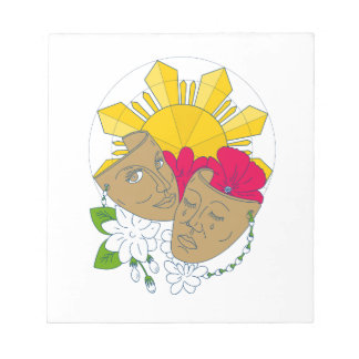 Drama Mask Philippine Sun Hibiscus Sampaguita Flow Notepad