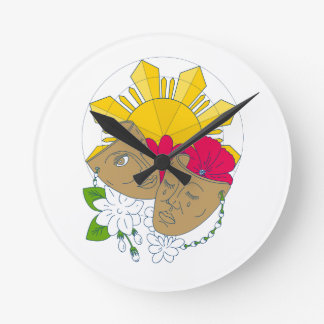 Drama Mask Philippine Sun Hibiscus Sampaguita Flow Round Clock
