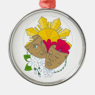 Drama Mask Philippine Sun Hibiscus Sampaguita Flow Silver-Colored Round Decoration