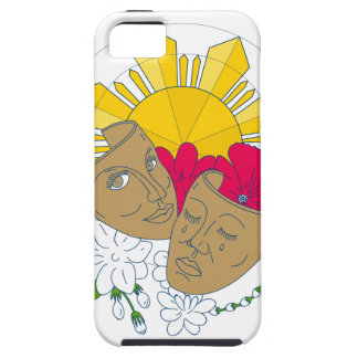 Drama Mask Philippine Sun Hibiscus Sampaguita Flow Tough iPhone 5 Case