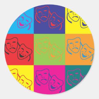 Drama Pop Art Round Sticker