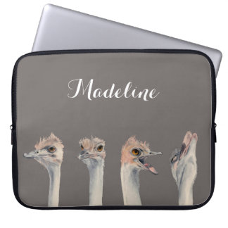 """""""Drama Queen"""" Funny Ostriches Painting Laptop Sleeve"""
