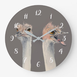 """Drama Queen"" Funny Ostriches Painting Large Clock"