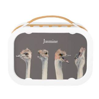 """Drama Queen"" Funny Ostriches Painting Lunch Box"