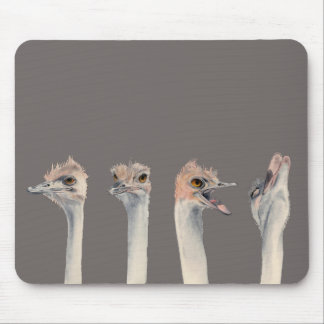 """""""Drama Queen"""" Funny Ostriches Painting Mouse Pad"""