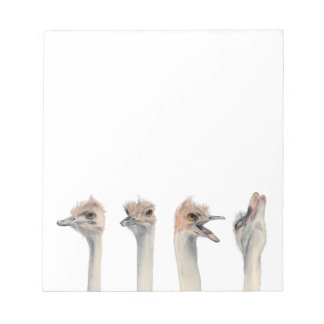 """Drama Queen"" Funny Ostriches Painting Notepad"