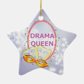 Drama Queen Stars Theater Masks Ceramic Ornament