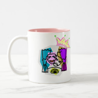 Drama Queen with Drama Queen in script letters Two-Tone Coffee Mug