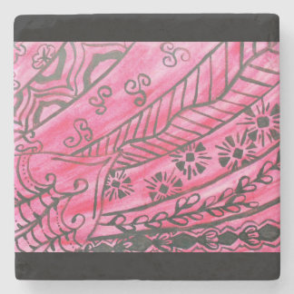 Dramatic abstract graphic in red and black stone beverage coaster