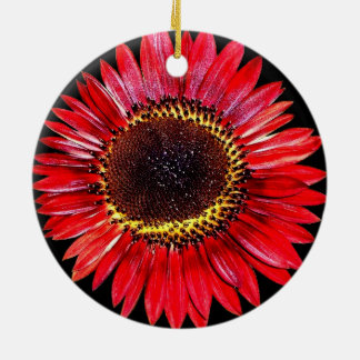 Dramatic Abstract Red Autumn Beauty Sunflower Round Ceramic Decoration