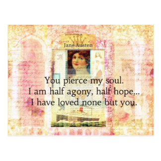 Dramatic and Romantic JANE AUSTEN  love quote Postcard