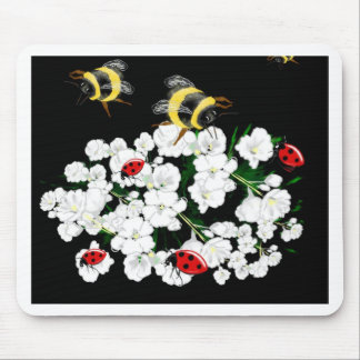 Dramatic Bees ladybugs and white flowers on black Mousepads
