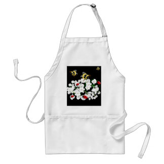 Dramatic Bees ladybugs and white flowers on black Standard Apron