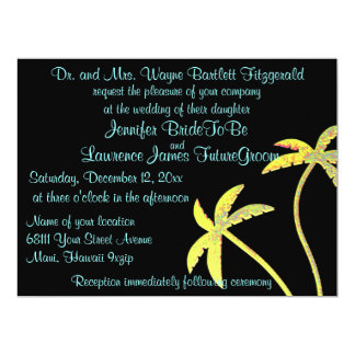 Dramatic Black and Gold Palm Tree Wedding 17 Cm X 22 Cm Invitation Card