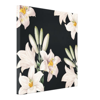 Dramatic Black and White Lilies Canvas Prints