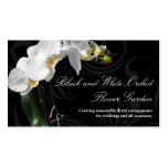 Dramatic Black and White Orchid Flower with Swirl Pack Of Standard Business Cards