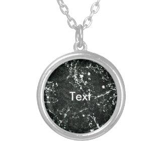 Dramatic Black&White Paint Splatter Round Pendant Necklace