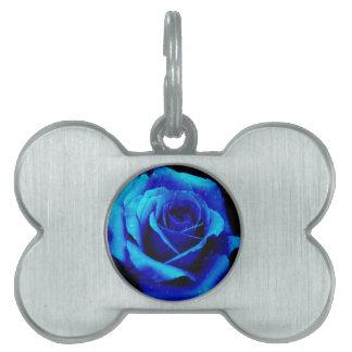 Dramatic Blue Rose Pet Name Tag