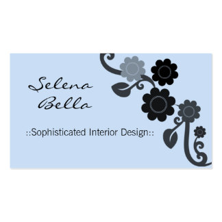 Dramatic Elegance Floral Business Card, Baby Blue Pack Of Standard Business Cards