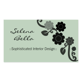 Dramatic Elegance Floral Business Card, Peridot Pack Of Standard Business Cards
