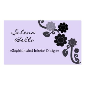 Dramatic Elegance Floral Business Card, Periwinkle Pack Of Standard Business Cards