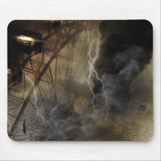 Dramatic Ferris Wheel Falls in a Lightning Storm Mousepad