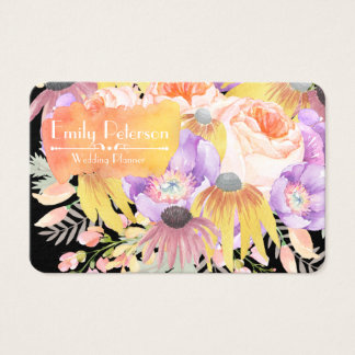 Dramatic Floral Wedding Planner Business Card