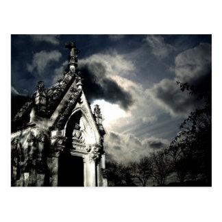 Dramatic graveyard scene postcard