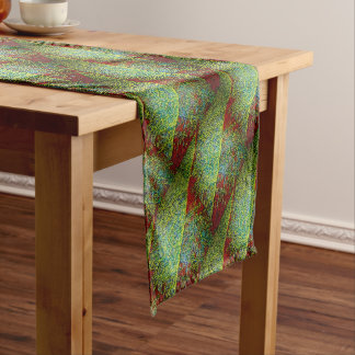 Dramatic green and red fine mosaic leaf diamonds short table runner