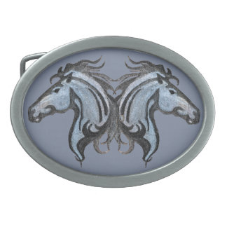 Dramatic Horse Design Belt Buckle