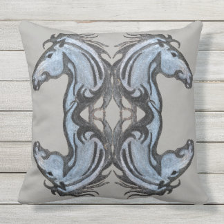 Dramatic Horse Throw Pillow
