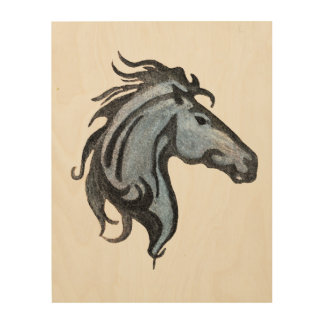 Dramatic Horse Wood Wall Art