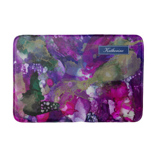 Dramatic Inks Abstract Purple Bath Mat