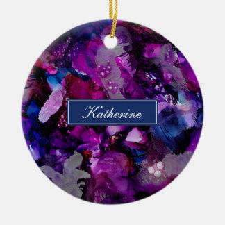 Dramatic Inks Abstract Purple Ceramic Ornament