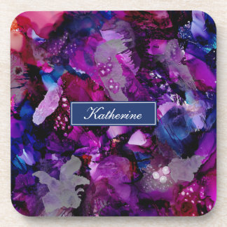Dramatic Inks Abstract Purple Coaster
