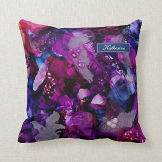 Dramatic Inks Abstract Purple Cushion
