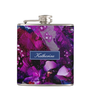 Dramatic Inks Abstract Purple Hip Flask