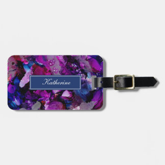 Dramatic Inks Abstract Purple Luggage Tag