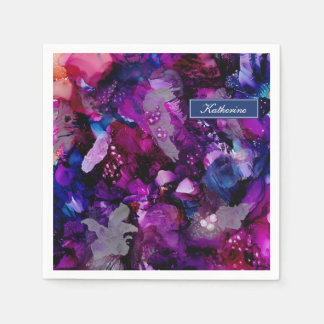 Dramatic Inks Abstract Purple Paper Napkin
