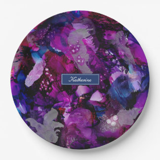 Dramatic Inks Abstract Purple Paper Plate