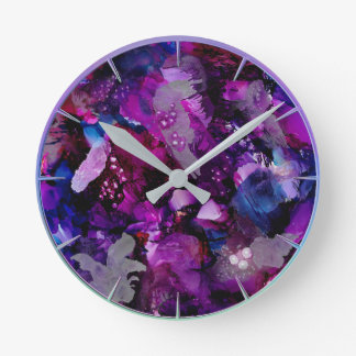 Dramatic Inks Abstract Purple Round Clock