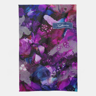 Dramatic Inks Abstract Purple Tea Towel