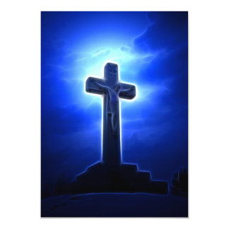 Dramatic Jesus Crucifixion 13 Cm X 18 Cm Invitation Card