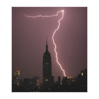 Dramatic Lightning Surrounds Empire State Building Gallery Wrapped Canvas